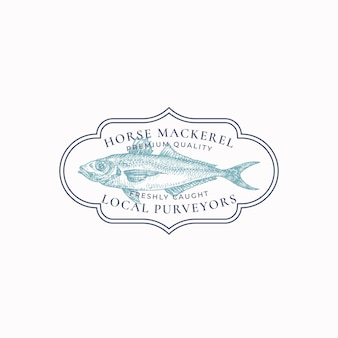 Fish vintage frame badge or logo template hand drawn wild horse mackerel sketch emblem with retro ty...