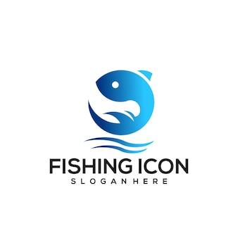 魚のヴィンテージロゴグラデーションブルー