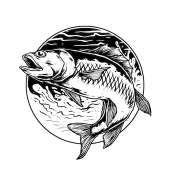 Fish in the wave for fishing club logo badge
