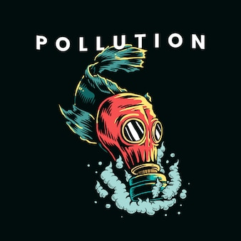 Fish wearing gas mask in polluted water  illustration