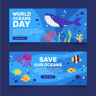 Fish and whale oceans day banner