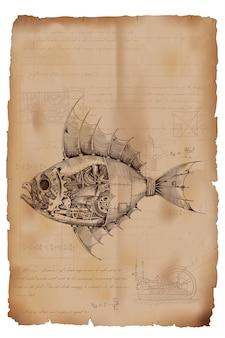Рыба с металлическим корпусом на механическом управлении в стиле стимпанк на фоне старой мятой бумаги с рисунками, формулами и техническими примечаниями.