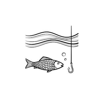 후크 손으로 그린 개요 낙서 아이콘으로 물고기. 흰색 배경에 격리된 인쇄, 웹, 모바일 및 인포그래픽을 위한 거품 벡터 스케치 삽화가 있는 후크와 물고기.
