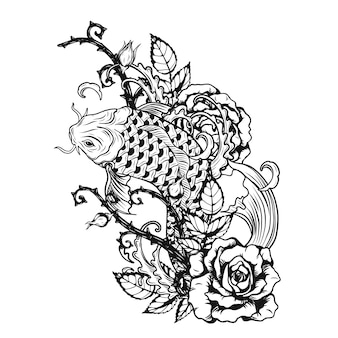 Fish with rose tattoo by hand drawing