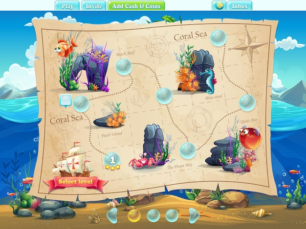 Fish world - примеры уровней экрана, игровой интерфейс с индикатором выполнения, объектами, кнопками