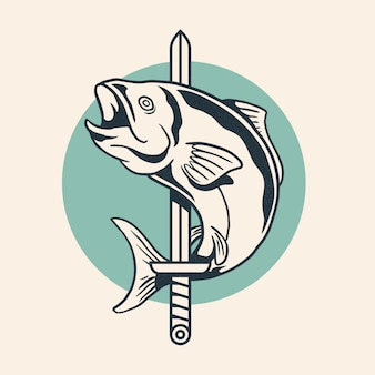 Fish wrapped around sword vintage retro logo design vector illustration.