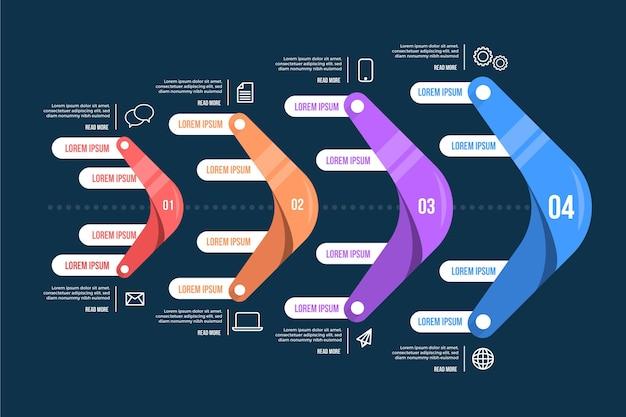 Fishbone infographic in flat design