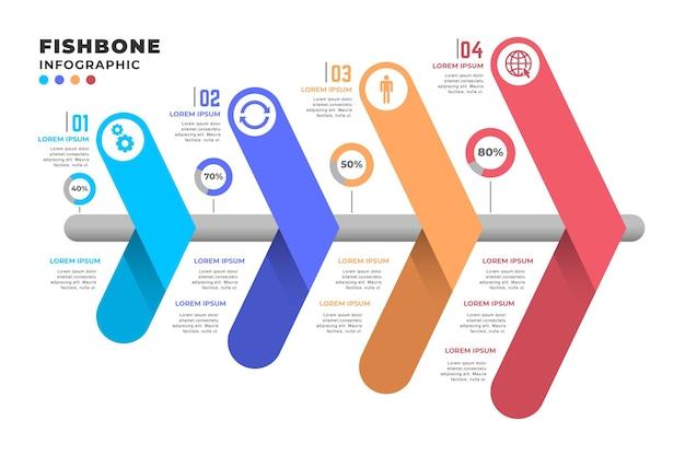 Шаблон инфографики fishbone