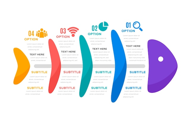 Шаблон fishbone для инфографики