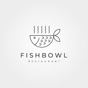 金魚鉢のミニマリストのロゴの概念