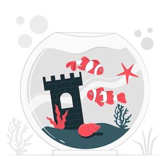 Fishbowl концепция иллюстрации