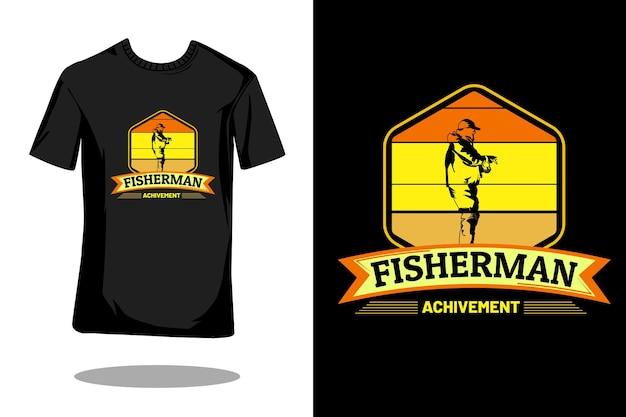 フィッシャーマンアチーブメントシルエットレトロtシャツデザイン