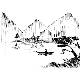 Fisherman on boat japan vintage vector hatching japanese landscape with mountains lake and trees