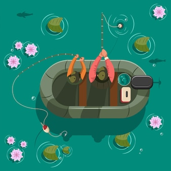 Fisherman in a boat on lake. vector cartoon illustration top view.