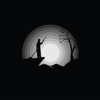 Fisherman in boat silhouette, black and white illustration