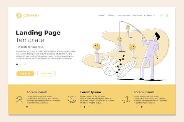 어부 사업가 낚시 이모티콘 웃는 얼굴이 방문 페이지 웹 디자인 템플릿에 있습니다. 벡터 비즈니스 인터넷 기술 smm 소셜 미디어 마케팅 웹사이트 개념 그림