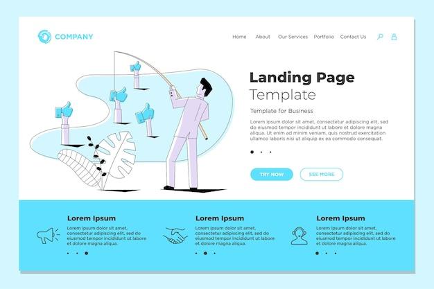 Fisherman businessman fishing thumbs up likes on landing page web design template. vector business internet technology smm social media marketing website concept eps illustration