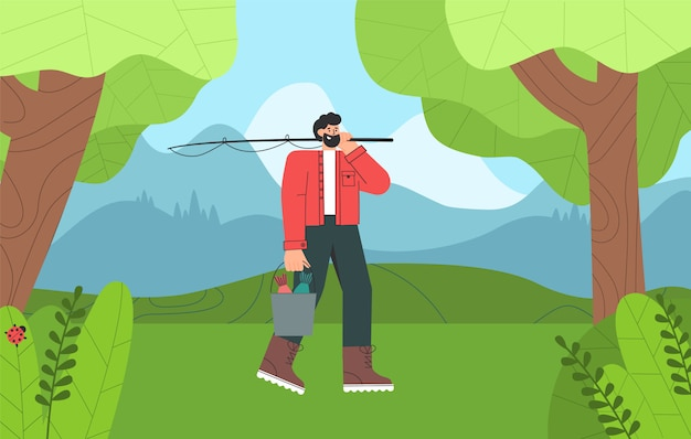 Рыбак мультипликационный персонаж с бородой закончил рыбалку, держа ведро рыбы.