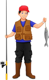 ,fisherman catching fish with fishing rod set