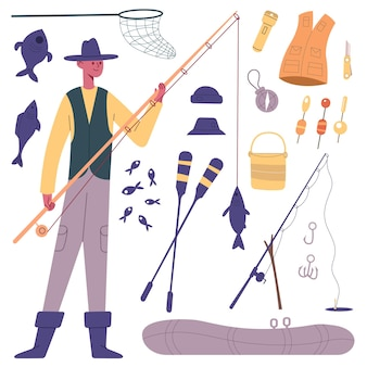 Fisherman character. cartoon fisherman with fishing tackle, fishing rod, reels, boat and fish bait vector illustration set. fishing outdoor leisure symbols. equipment for hobby as hooks, paddles