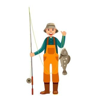 Рыбацкий персонаж ловят рыбу