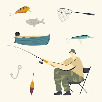 Fisherman character sitting on chair with rod on coast having good catch.