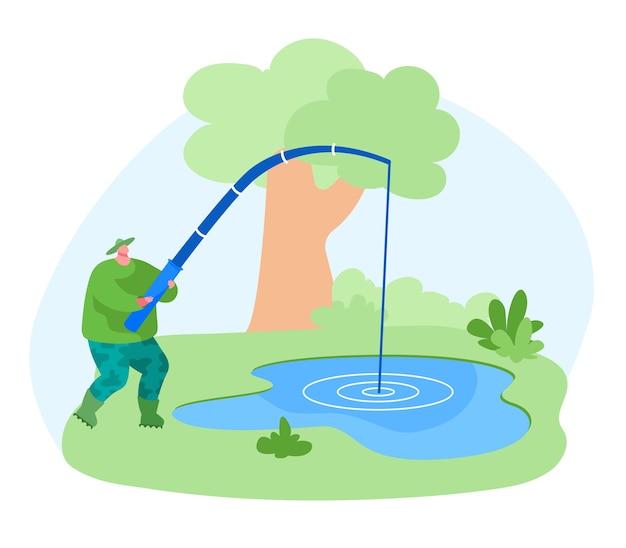 Рыбак персонаж с удочкой ловит рыбу в пруду