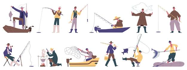 어부 캐릭터. 낚시 여름 야외 활동, 회전 또는 낚시 그물 물고기 잡기 취미 레크리에이션 벡터 일러스트 세트. 남성 어부 여가. 불에 요리, 배를 타고 항해 프리미엄 벡터