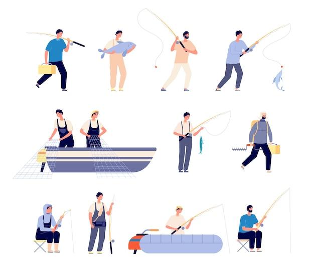 漁師のキャラクター。ゴムボート、装備を持った釣り人。季節の活動、男性は魚を保持します。商業漁業のベクトル図。釣り道具とゴムボート