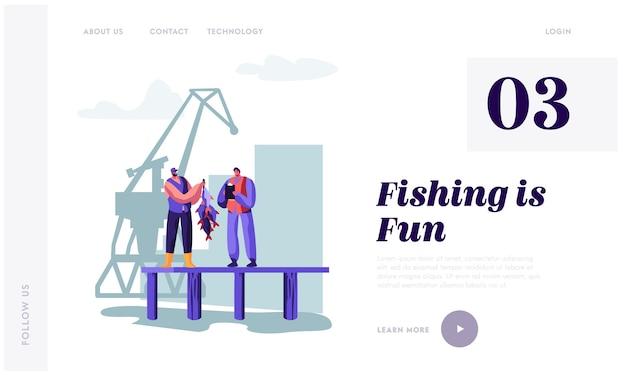 Fisherman demonstrating fish haul to customer on pier. landing page template