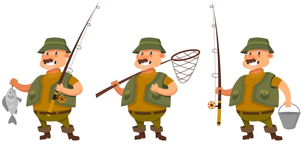 Fisherman in different poses. male character in cartoon style.