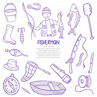 Fisherman or fishing doodle hand drawn with outline style on paper books line