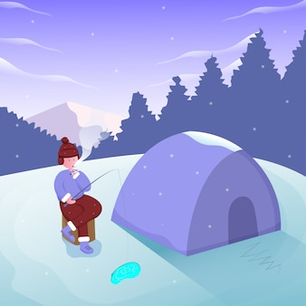 Fisherman fishing on ice lake with scenery mountain and camp  illustration