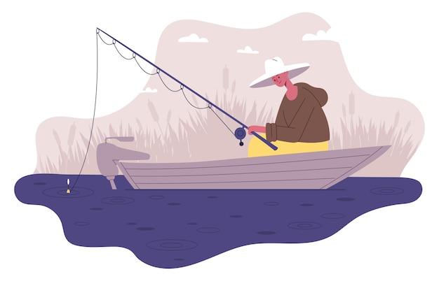 ボートで釣りをする漁師。男性の野外活動、魚を噛むベクトルイラストセットを待っているロッドを持つ漁師のキャラクター。釣りスポーツレクリエーション