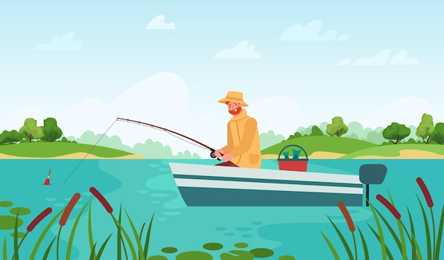 Fisherman fishing. man in boat with fishing rod waiting nibble fish, relaxation hobby outdoor summer landscape cartoon vector concept. male character having leisure on lake or pond