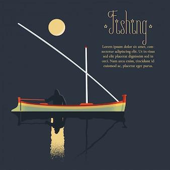 Fisherman fishing at night illustration
