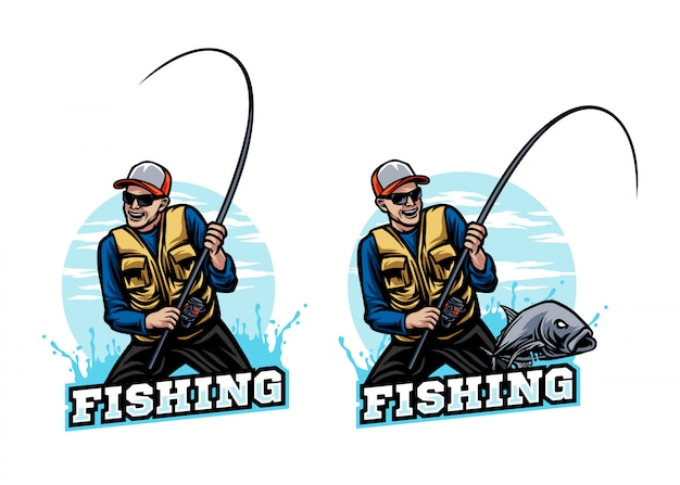 Fisherman fishing sport mascot logo