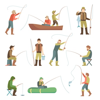 Fisherman flat icons. fishing people with fish and equipment