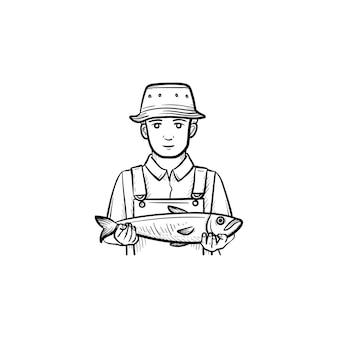 Рыбак рисованной наброски каракули значок. векторная иллюстрация эскиз рыбака, держащего большую рыбу для печати, интернета, мобильных устройств и инфографики, изолированных на белом фоне.