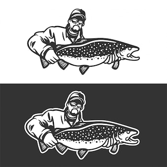 Fisherman hold big trout fish for emblem or logo