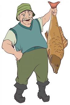Рыбак держит большую рыбу за хвост
