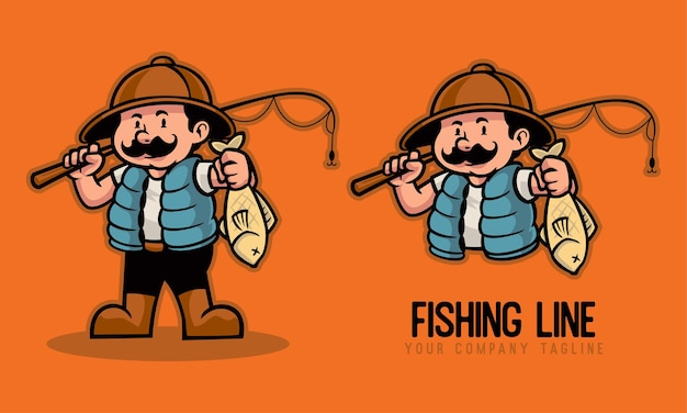 Fisherman holding a fishing rod and fish