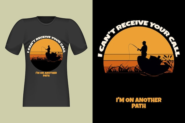 Fisherman i cant receive your call silhouette retro vintage design illustration