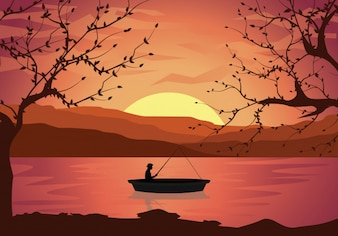 Fisherman in a boat on the river