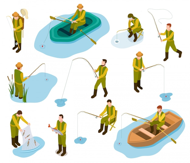 Fisherman isometric. fishing in river pond sea tackle rubber fish bucket boat fishing rod  isometric  set