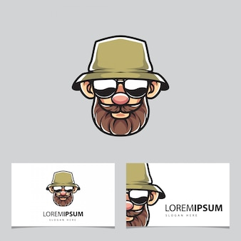 Fisherman mascot and business cards