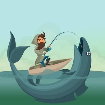 보트에 어 부 잡아 거 대 한 물고기