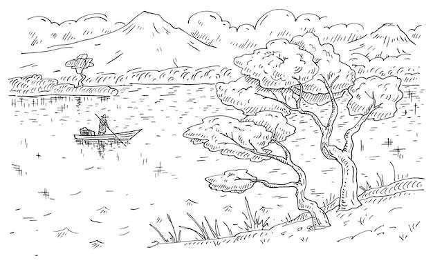 Рыбак на лодке. старинные гравюры японский пейзаж с горами, озером