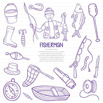 漁師または釣り落書きは、紙の本の行にアウトラインスタイルで手描き