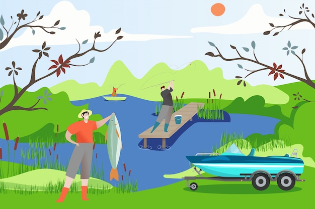 Fisherman people boat with fish  illustration. summer outdoor hobbies. man character on lake holds excellent catch in hand.